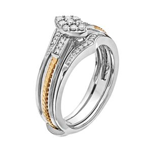 Always Yours Two Tone Sterling Silver 1/5 Carat T.W. Diamond Marquise Engagement Ring & Enhancer Set