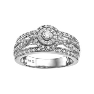 Always YoursSterling Silver 1/2 Carat T.W. Diamond Halo Anniversary Ring