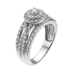Always Yours Sterling Silver 1/2 Carat T.W. Diamond Halo Anniversary Ring
