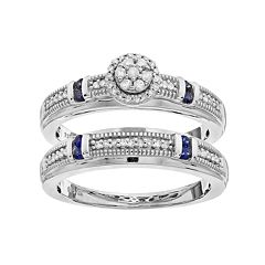 Always Yours Sterling Silver 1/5 Carat T.W. Diamond & Sapphire Halo Engagement Ring Set