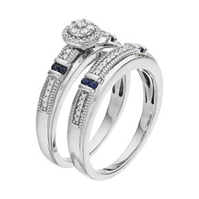 Always YoursSterling Silver 1/5 Carat T.W. Diamond & Sapphire Halo Engagement Ring Set