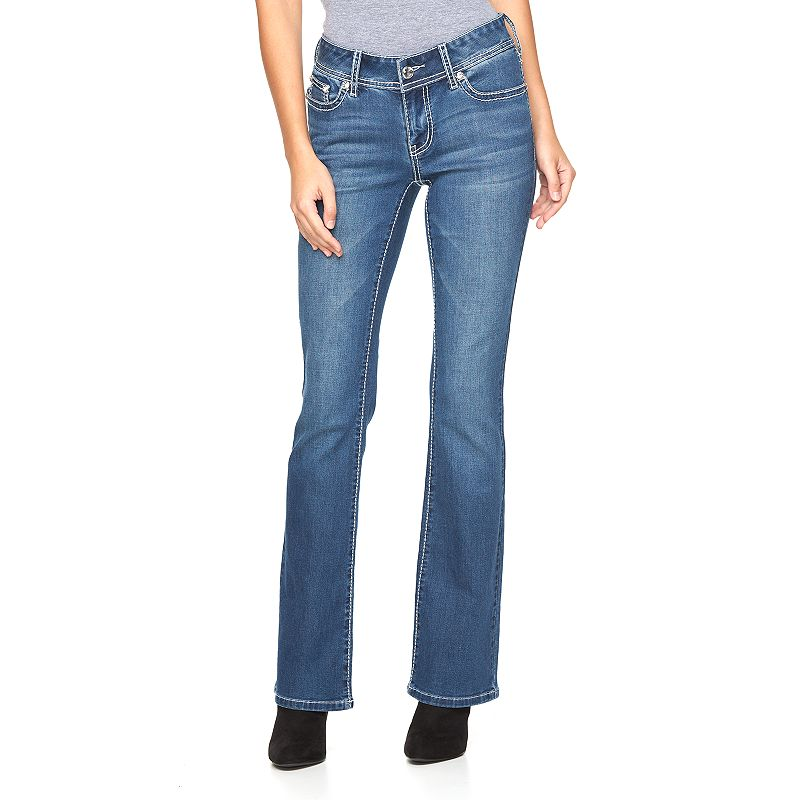 Women's Apt. 9® Embroidered Rhinestone Bootcut Jeans, Size: 0 Short, Med Blue