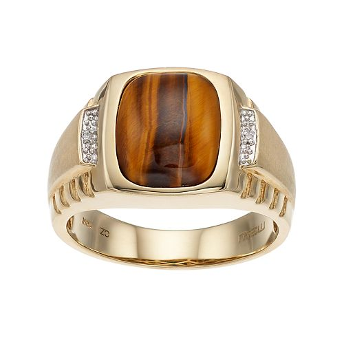 Men's 10k Gold Tiger's-Eye & Diamond Accent Ring