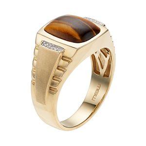 Men's 10k Gold Tiger's-Eye & Diamond Accent Ring