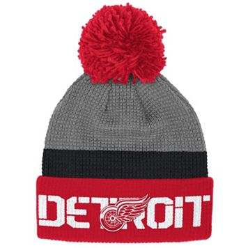 Adult Reebok Detroit Red Wings Cuffed Pom Knit Hat