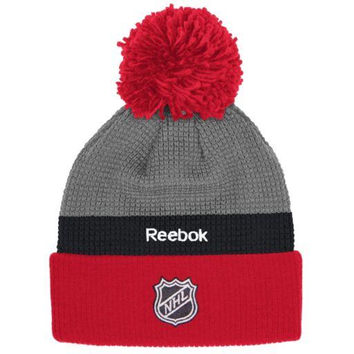 Adult Reebok Detroit Red Wings Cuffed Pom Knit Hat