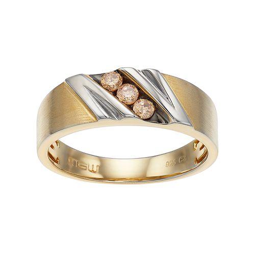 Men's Two Tone 10k Gold 1/5 Carat T.W. Champagne Diamond Ring