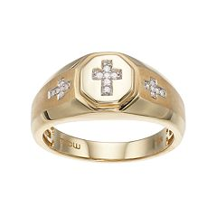 Men's 10k Gold Diamond Accent Cross Ring