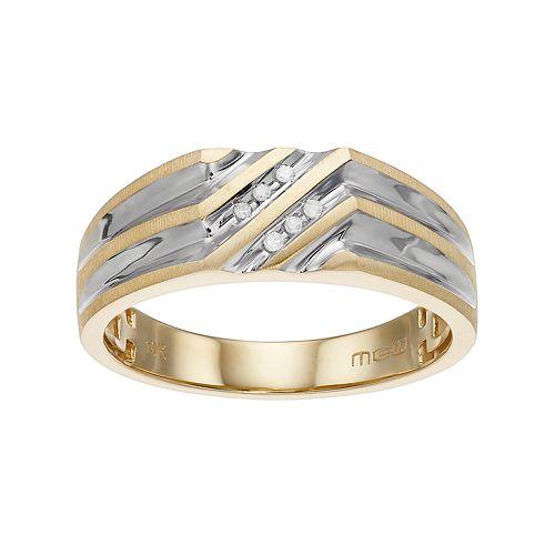 Men's Two Tone 10k Gold Diamond Accent Ring