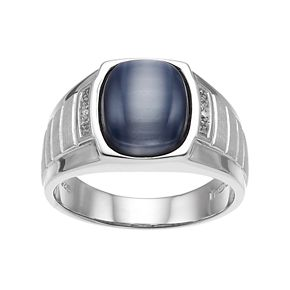 Men's Sterling Silver Gray Cat's-Eye & Diamond Accent Ring