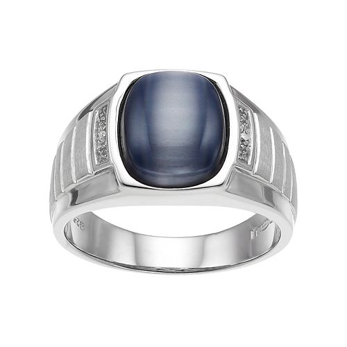 Men's Sterling Silver Gray Cat's-Eye & Diamond Accent Ring