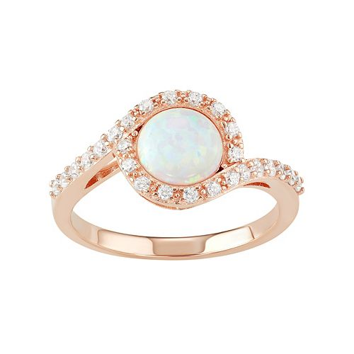 Sterling Silver Lab-Created White Opal & Cubic Zirconia Swirl Ring