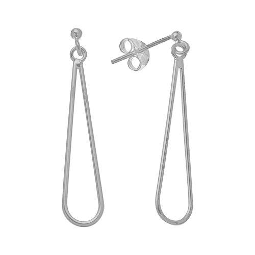 Sterling Silver Long Teardrop Earrings