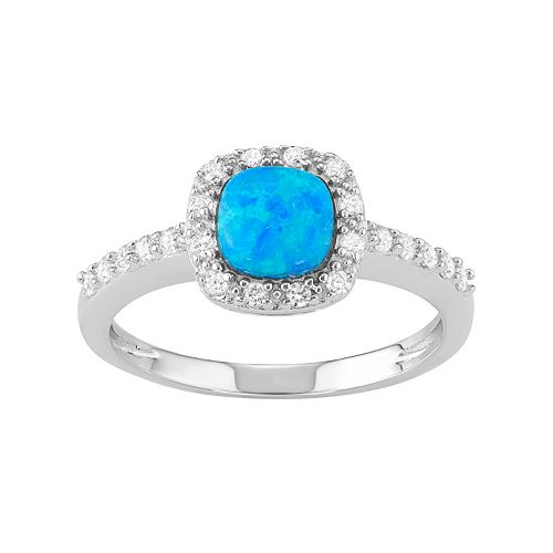 Sterling Silver Lab-Created Blue Opal & Cubic Zirconia Halo Ring