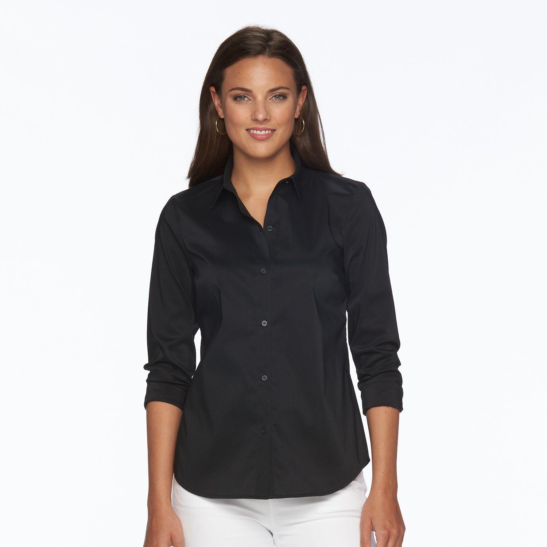 Black Button Down Shirt Womens