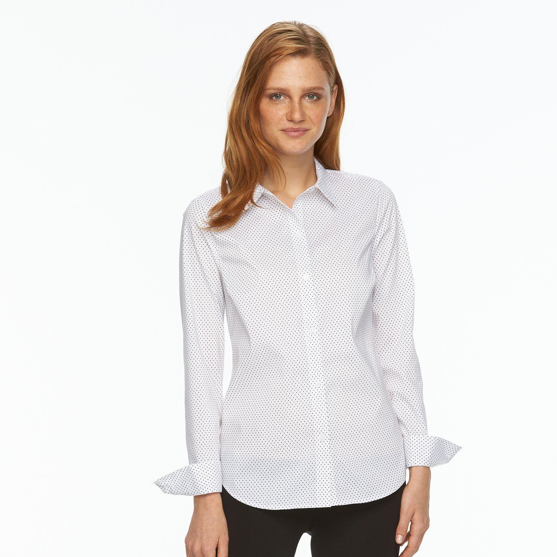 2539706_White_Black_Dot?wid=1000&hei=1000&op_sharpen=1 apt 9� essential wrinkle resistant shirt,Kohls Apt 9 Womens Clothing