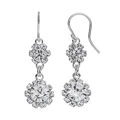 Simulated Crystal Flower Double Drop Earrings