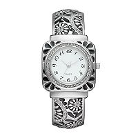 Vivani Women's Crystal Floral Engraved Cuff Watch