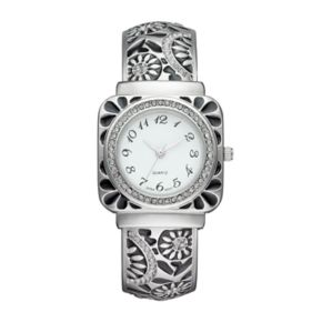 Vivani Women's Crystal Floral Engraved Cuff Watch