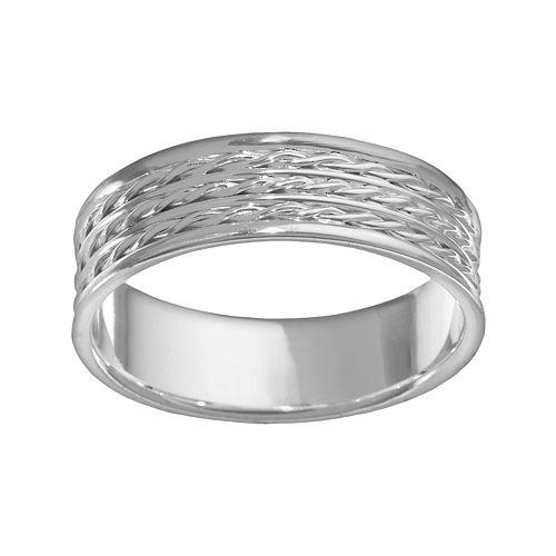 Sterling Silver Braided Wedding Band - Men