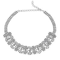 Simulated Crystal Flower Choker Necklace