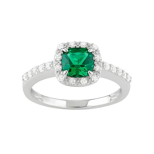 Sterling Silver Lab-Created Green Spinel & Cubic Zirconia Halo Ring