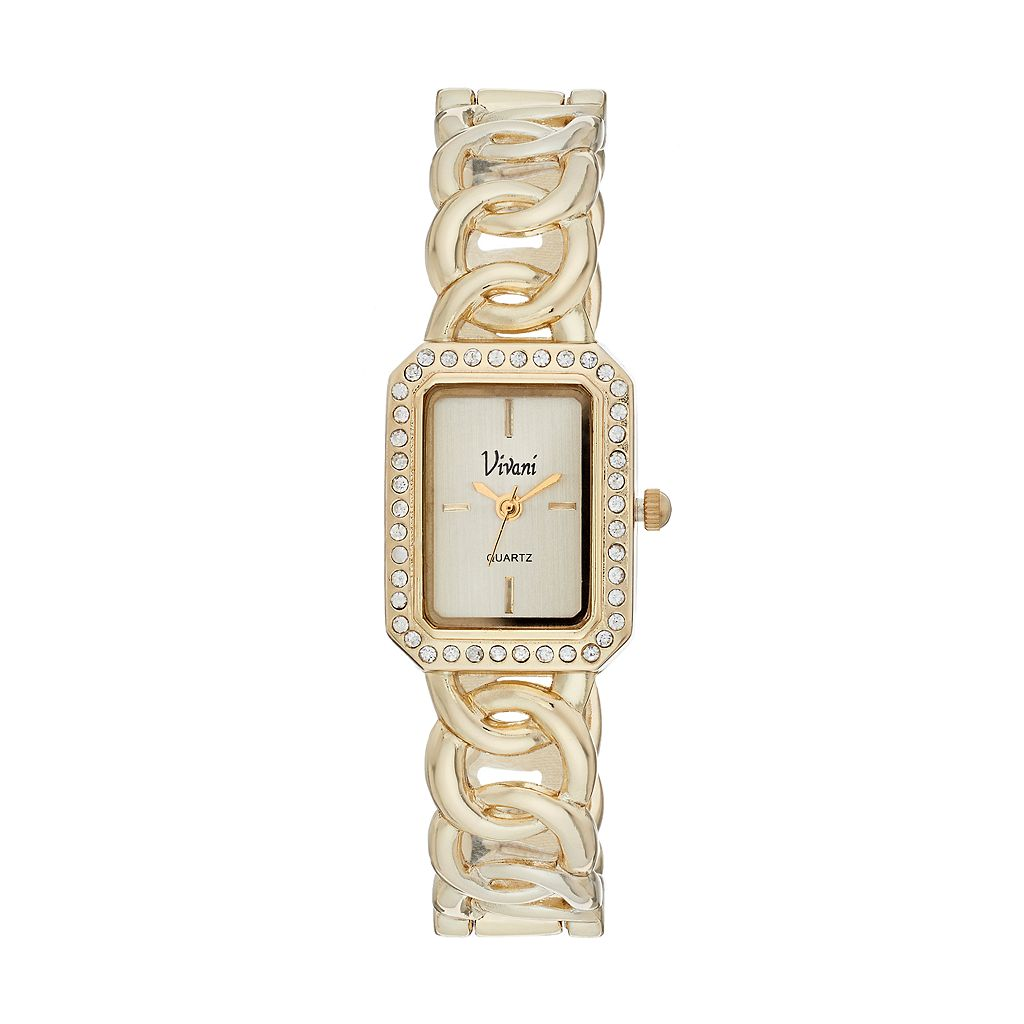 Vivani Women's Crystal Chain Link Cuff Watch