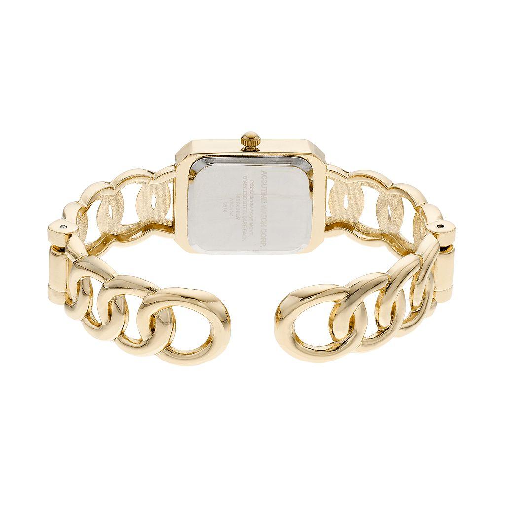 Vivani Women's Crystal Chain Link Cuff Watch