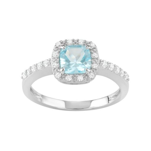 Sterling Silver Blue Topaz & Cubic Zirconia Halo Ring