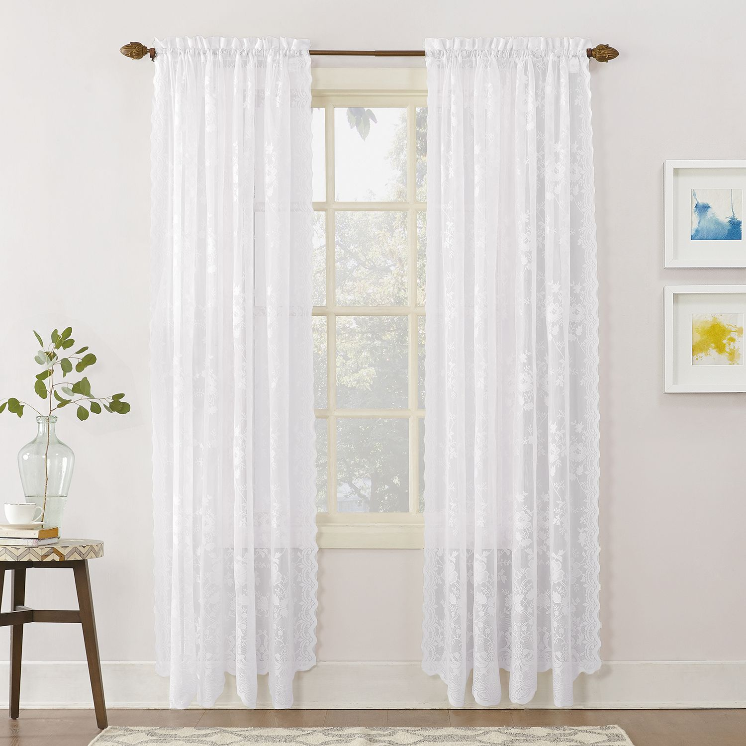 no918 alison floral lace sheer curtain panel - Sheer Curtain Panels