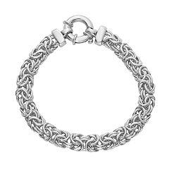 Sterling Silver 8 in Byzantine Chain Bracelet