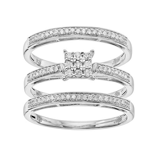 Always Yours 3-pc. Sterling Silver 1/4 Carat T.W. Diamond Engagement Ring Set