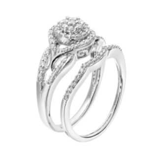 Always Yours Sterling Silver 1/2 Carat T.W. Diamond Cluster Engagement Ring Set
