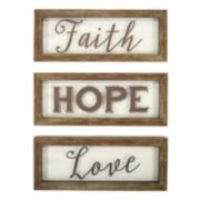 "New View ""Faith Hope Love"" Framed Wall Art 3-piece Set"