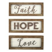 New View 'Faith Hope Love' Framed Wall Art 3 pc Set