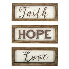 New View 'Faith Hope Love' Framed Wall Art 3-piece Set