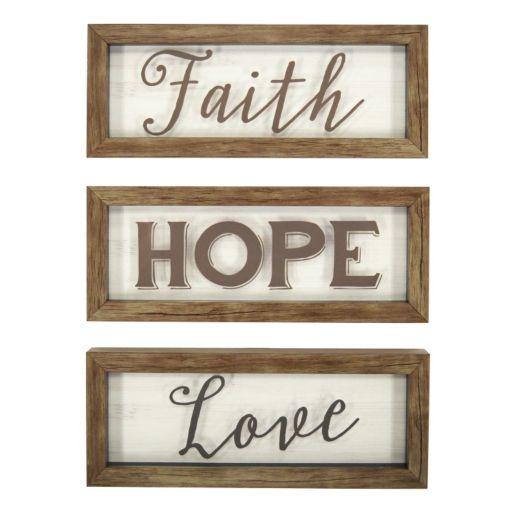 "New View ""Faith Hope Love"" Framed Wall Art 3-piece Set"
