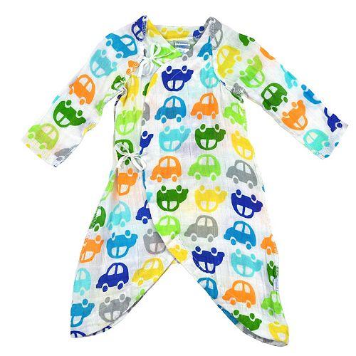 i play. Baby Boy Brights Organic Muslin Wrap Gown