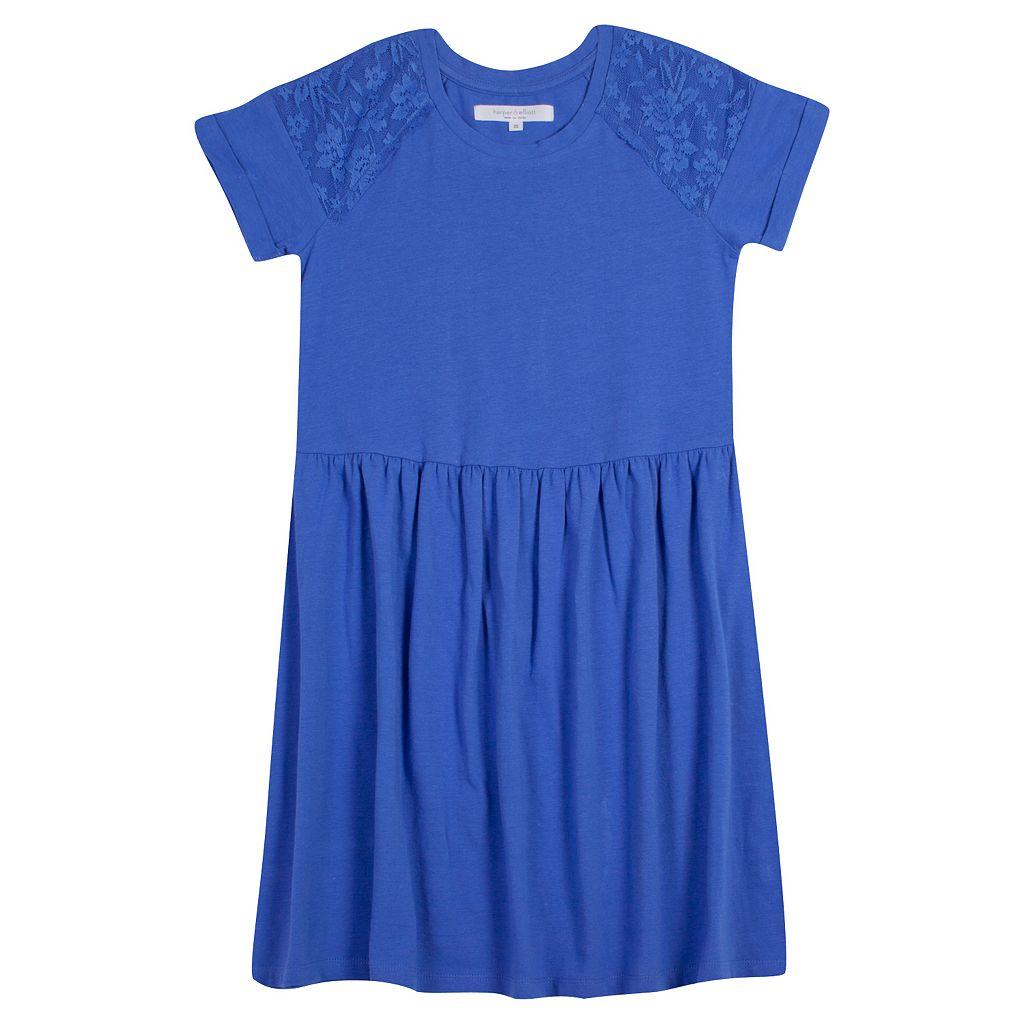 Girls Plus Size Harper & Elliott Lace Skater Dress