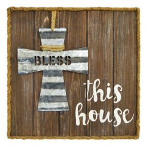 "New View ""Bless This House"" Wood Wall Art"