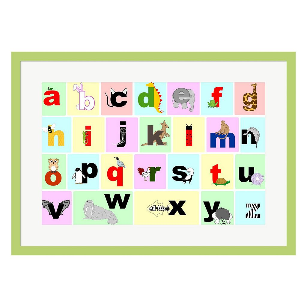 Metaverse Art Animal Alphabet Framed Wall Art