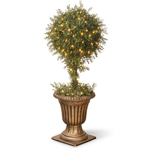 "National Tree Company Pre-Lit 36"" Artificial Mini Tea Leaf One-Ball Topiary"