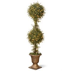 National Tree Company Pre-Lit 60' Artificial Mini Tea Leaf Two-Ball Topiary