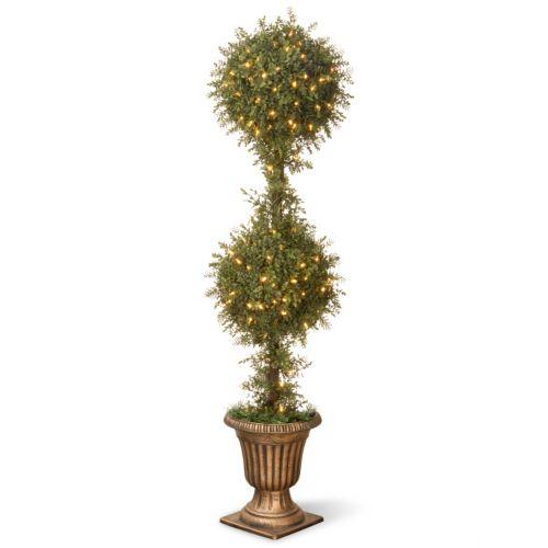 National Tree Company Pre-Lit 60″ Artificial Mini Tea Leaf Two-Ball Topiary