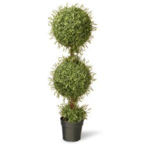 "National Tree Company 48"" Artificial Mini Tea Leaf Two-Ball Topiary"