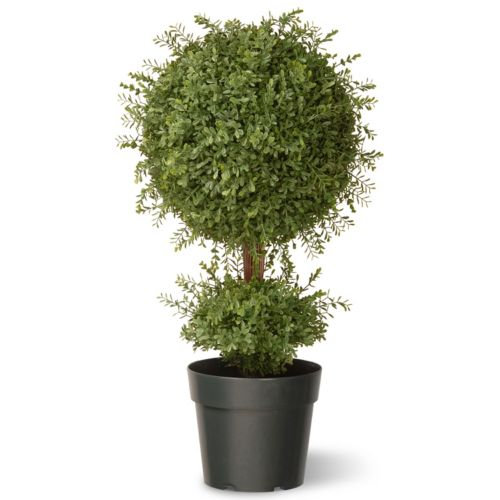 National Tree Company 30″ Artificial Mini Tea Leaf One-Ball Topiary