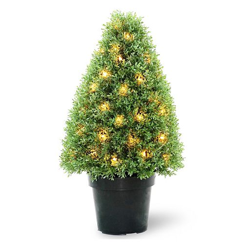 "National Tree Company Pre-Lit 30"" Artificial Boxwood Tree"