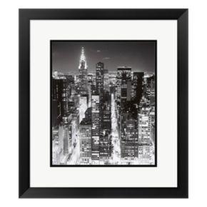 Metaverse Art Night Skyline NYC Framed Wall Art