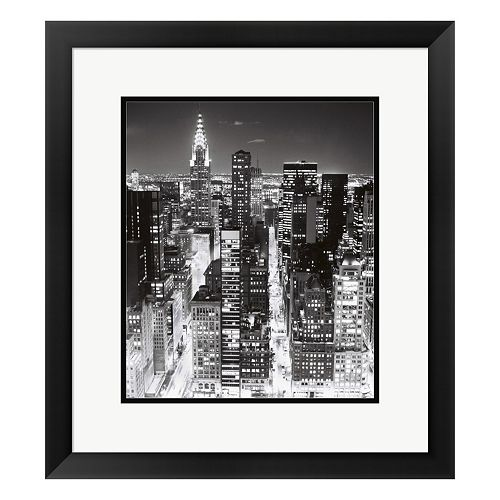 Metaverse Art Night Skyline NYC Framed Wall Art