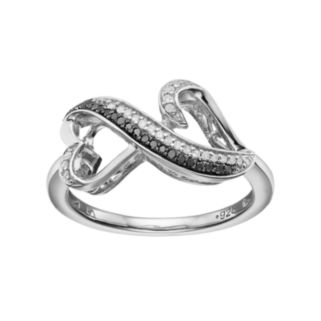 Love Is Forever Sterling Silver 1/8 Carat T.W. Black & White Diamond Double Heart Ring